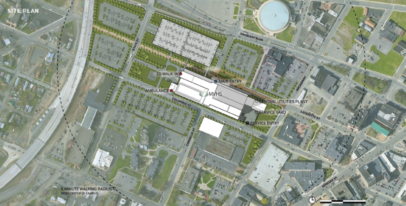 The proposed hospital in Utica and adjacent parking garage would take up about 25 acres in the city's downtown region.
