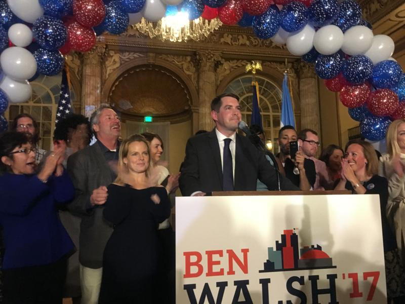 Ben Walsh thanks supporters at the Marriott Syracuse Downtown on Election Night, after being elected the next mayor of Syracuse