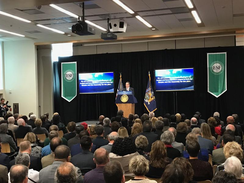 At SUNY ESF, Gov. Andrew Cuomo announces a proposed strategy to spend $65 million on regional forums, community specific action plans and cutting-edge pilot projects to fight algal blooms.