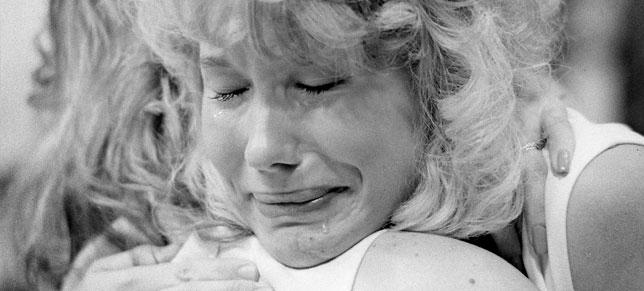 A photograph of a crying cheerleader taken at an SU basketball game on the night of the Pan Am bombing.