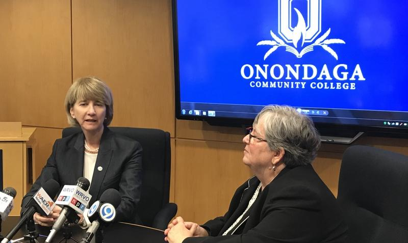 SUNY Chancellor Kristina Johnson, left, and Onondaga Community College president Casey Crabill, right, in December 2017
