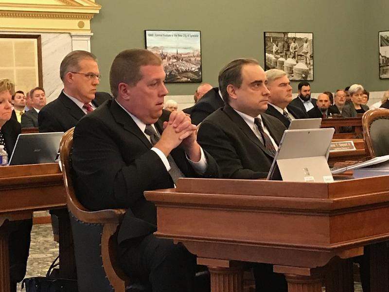 Onondaga County Legislator Danny Liedka, left, during a meeting of the county legislature Tuesday