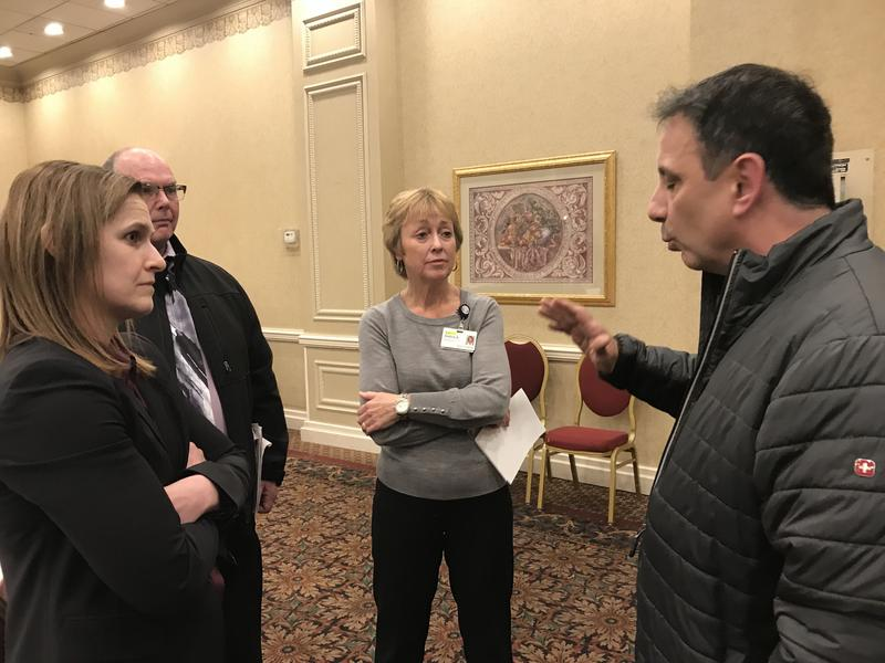 Chris Tringali, pastor of the Turning Point Church in Utica, expresses his frustration with representatives from the Mohawk Valley Health System about the need to relocate his church for a new hospital.