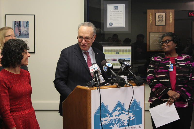 Sen. Charles Schumer at the Syracuse Community Health Center.