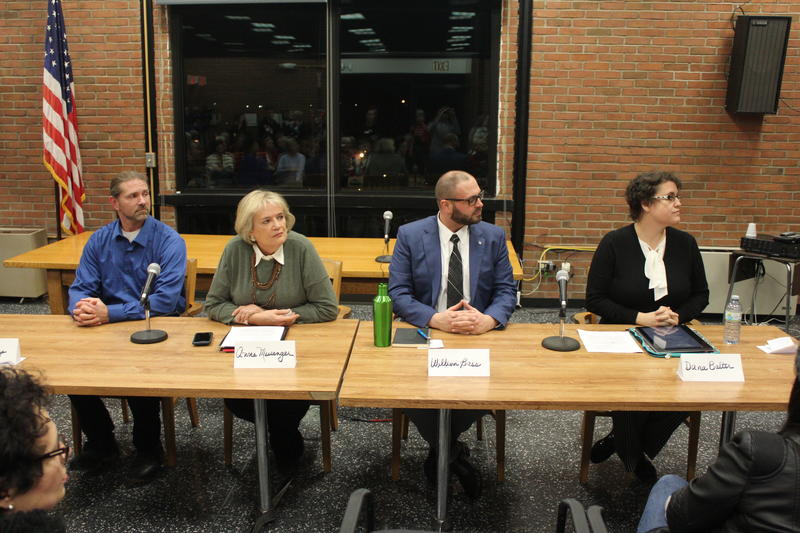 Four Democrats looking to unseat Rep. John Katko (R-Camillus) held a forum in Manlius Tuesday. From L-R, Scott Comegys, Anne Messenger, Bill Bass, and Dana Balter