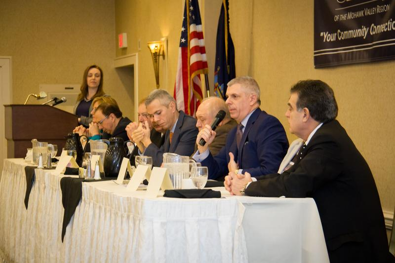 Oneida County Executive Anthony Picente addresses the room at the annual Mohawk Valley legislative forum. He and other elected officials described the region's economy as positive, with more growth ahead.