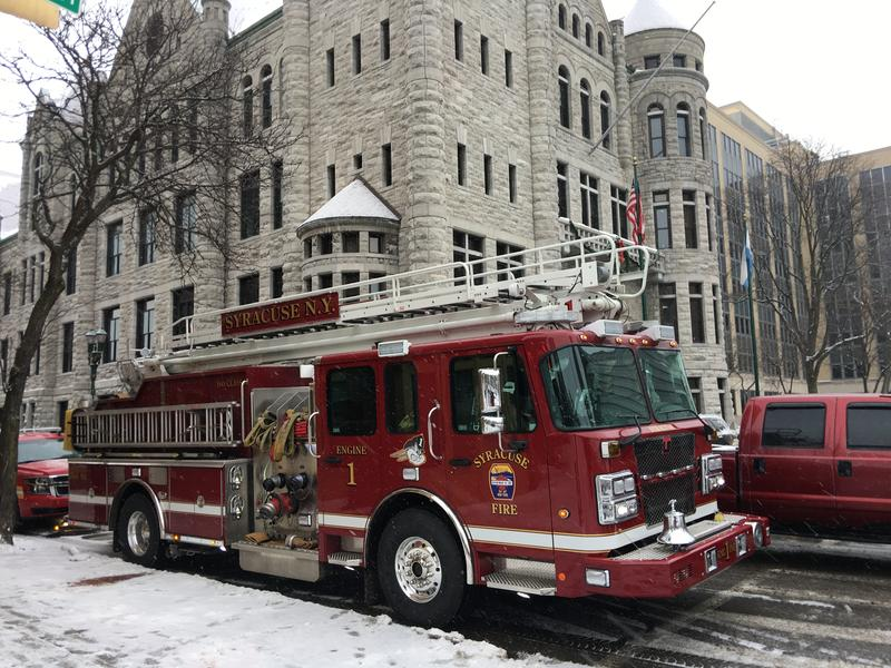 Syracuse fire truck outside of city hall.