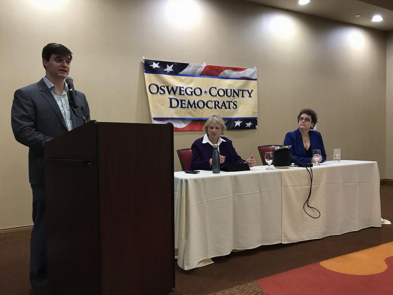 A Democratic forum in the 24th Congressional District with candidates Anne Messenger, left, and Dana Balter, right, gets underway in Auburn. Afterward, the Oswego, Cayuga and Wayne county Democratic committees voted to endorse Balter in the race.