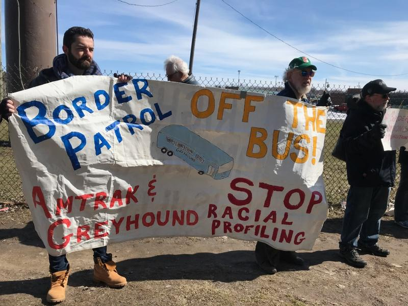 Protesters in Syracuse Thursday called on bus companies to stop allowing Border Patrol agents to question passengers