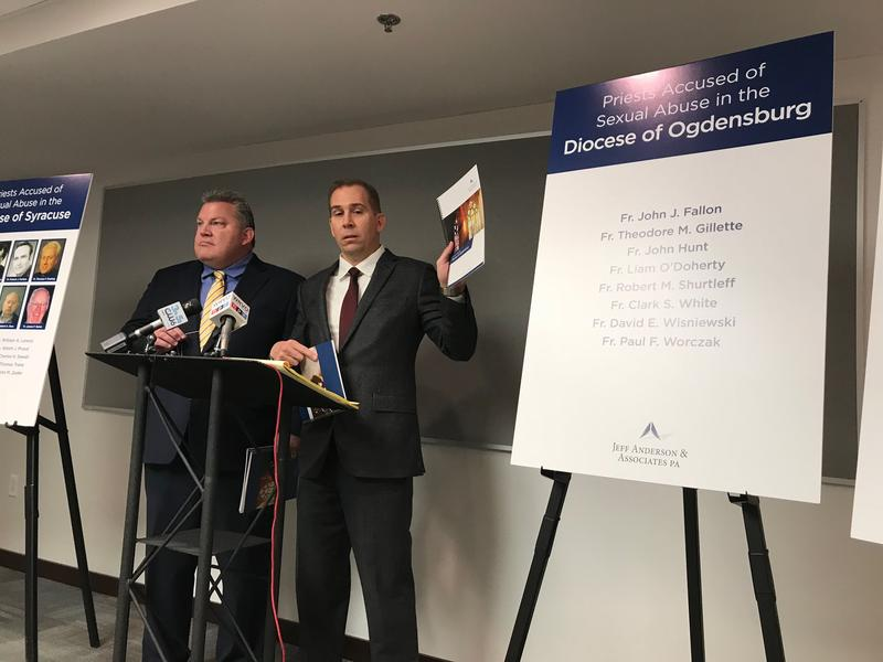 Attorney Mike Reck, right, is calling on the Catholic Dioceses of Syracuse and Ogdensburg to release the names of all priests credibly abused of sex abuse.