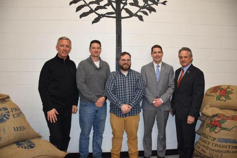 From left to right: Rep. John Katko, Jesse Daino, Adam Williams, Syracuse Mayor Ben Walsh, SBA district Director Bernard Paprocki.