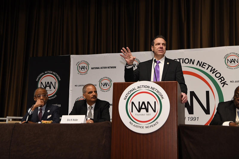 Gov. Andrew Cuomo speaks at the annual meeting of the National Action Network Wednesday