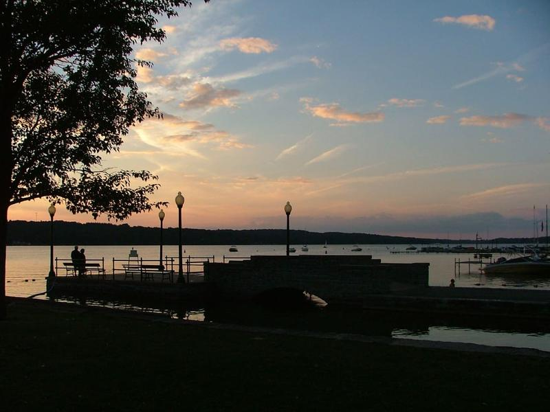 A photo of Cazenovia Lake at sunset, uploaded to an Airbnb listing of a home in the village.