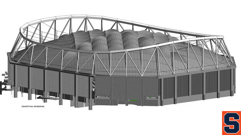 A rendering of the new exterior of the dome.