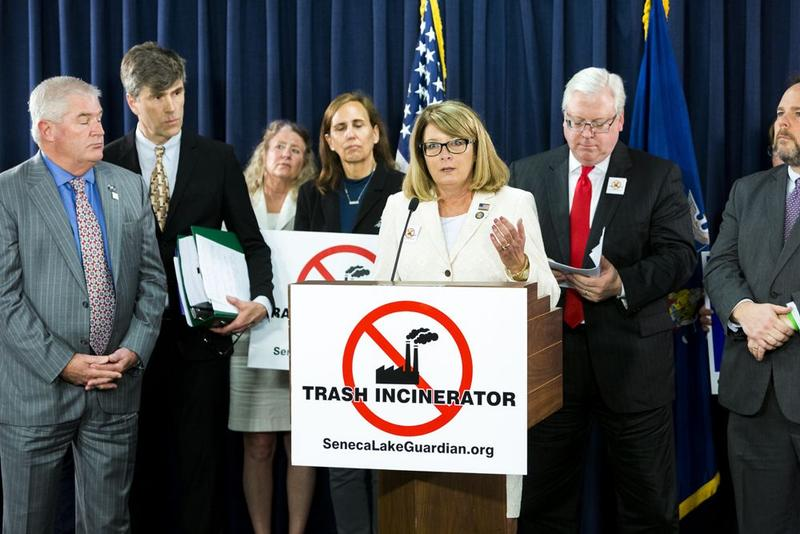Finger Lakes area State Sen. Pam Helming (R-Canandaigua) and other state lawmakers speak out against a proposed trash incinerator in Romulus.