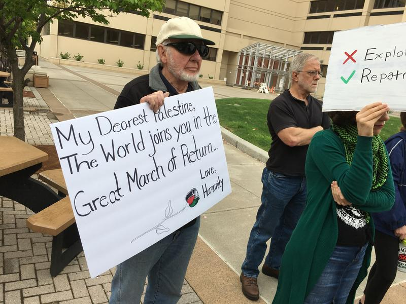 A rally for Palestine in downtown Syracuse.