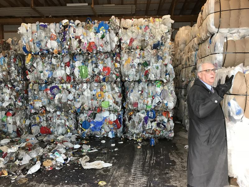 During a tour of the Madison County Landfill, Jim Zecca, director of the Madison County Department of Solid Waste, shows the stockpiles of plastic bags they collect.