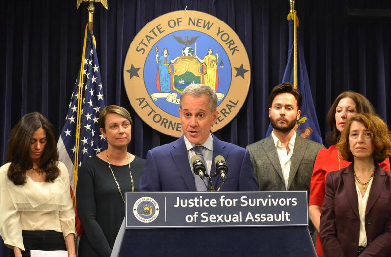 Former Attorney General Eric Schneiderman at a press conference with women's group leaders on November 28, 2017