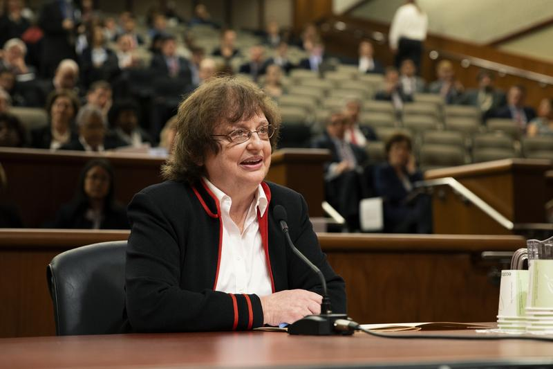 Acting Attorney general Barbara Underwood speaks before a panel of state legislators Tuesday