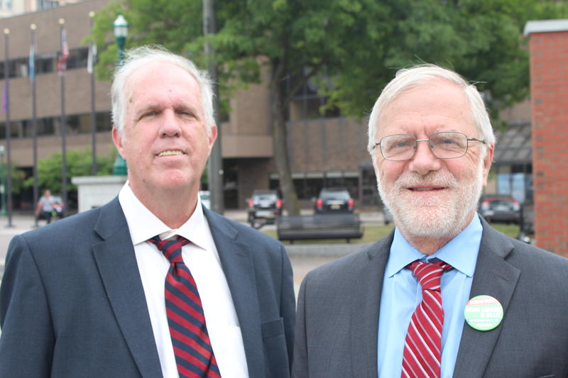 Green Party comptroller candidate Mark Dunlea with Green Party gubernatorial candidate Howie Hawkins in Syracuse.