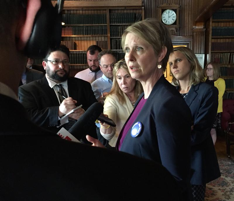 Democratic candidate for governor Cynthia Nixon speaking to the press in Albany Monday