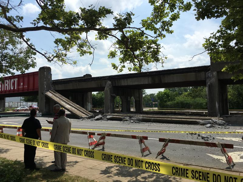 Parts of a railroad bridge collapsed in downtown Syracuse at the intersection of Clinton Street and West Onondaga Street.