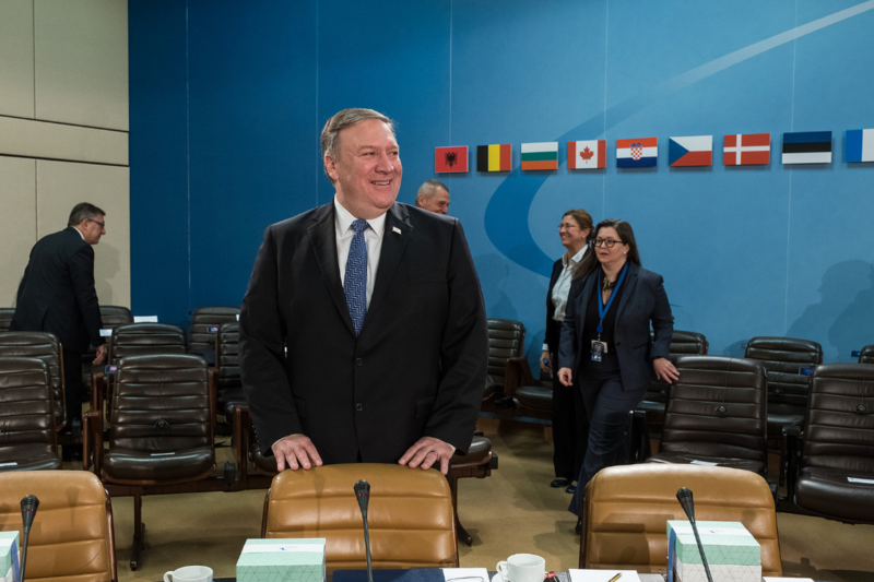Mike Pompeo before the start of the meeting of the North Atlantic Council (NAC) in Foreign Ministers' session this spring.