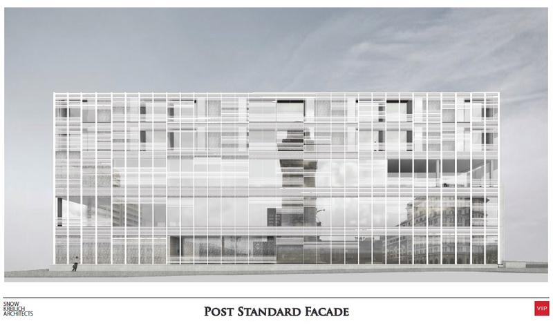 A rendering of renovations to the Post-Standard building.