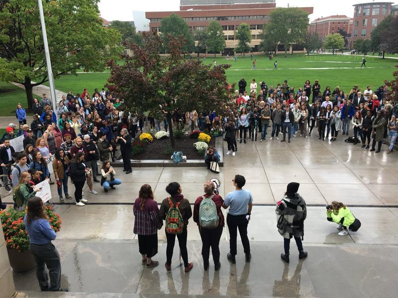 Syracuse University students protest Supreme Court nominee Brett Kavanaugh.
