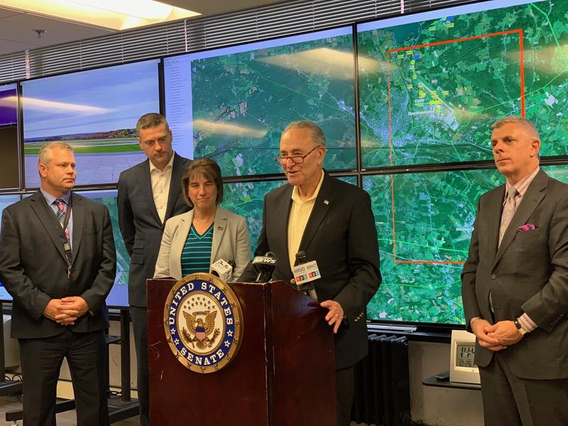 U.S. Sen. Chuck Schumer (D-NY) is pushing for federal research money for the at drone testing site, like the one at Griffiss International in Rome