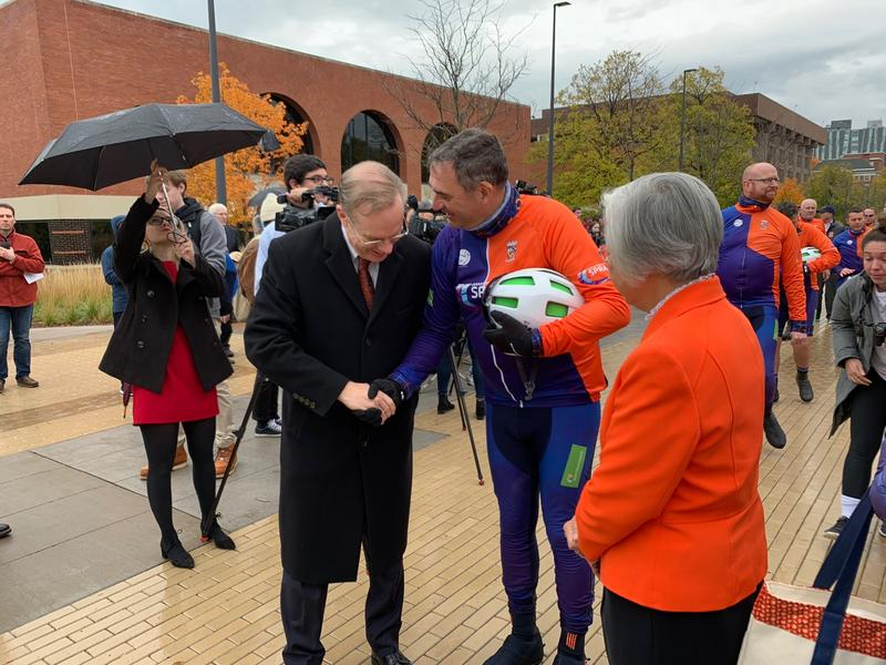 Collin Dorrance, a first responder during the Pan Am 103 disaster, meets with Syracuse University Chancellor Kent Syverud