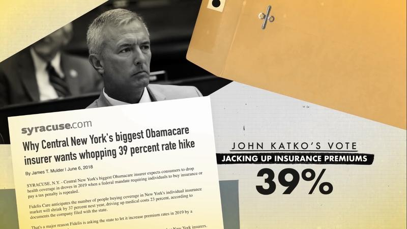 An example of a negative 'attack plus contrast' ad against Rep. John Katko. The ad includes a Syracuse.com article that says health insurance rates could go up as a result of the tax bill Katko voted for.