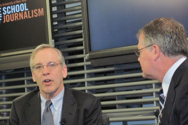 William Dudley, president of the Federal Reserve Bank of New York, left, visited Syracuse Thursday.