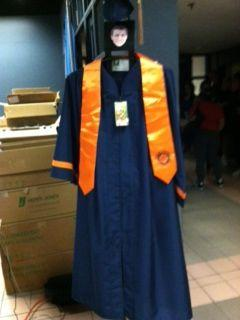 A Syracuse University graduation gown- made entirely out of plastic bottles.