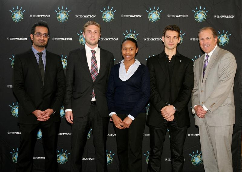 The winning team. IBM's Dan Pelino, right, joins MBA students Muhammad Munir, Christian Beck, Jaimee Saxton and Enric Coll.