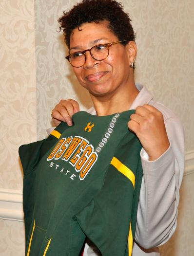 Michel Martin shows off her new Oswego apparel.