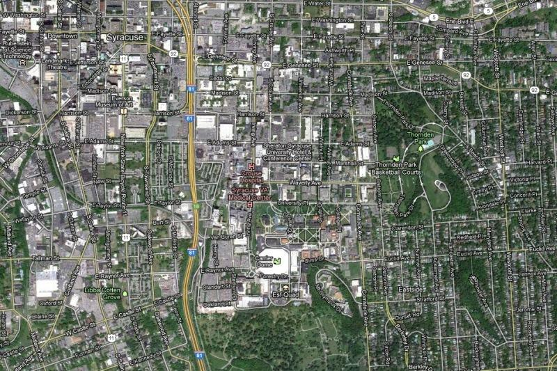 Syracuse - and Syracuse University - from above. 56 percent of the city of Syracuse is occupied by nonprofits. That's land the city cannot collect taxes on.
