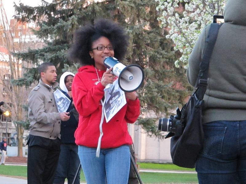 Keneshia Grant speaks at a Hoodies for Trayvon rally in the Syracuse University Quad.