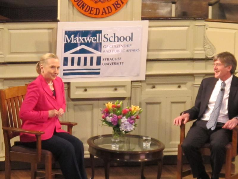 Secretary of State Hillary Clinton and Maxwell Dean James Steinberg discuss policy in SU's Hendrick's Chapel on Monday.