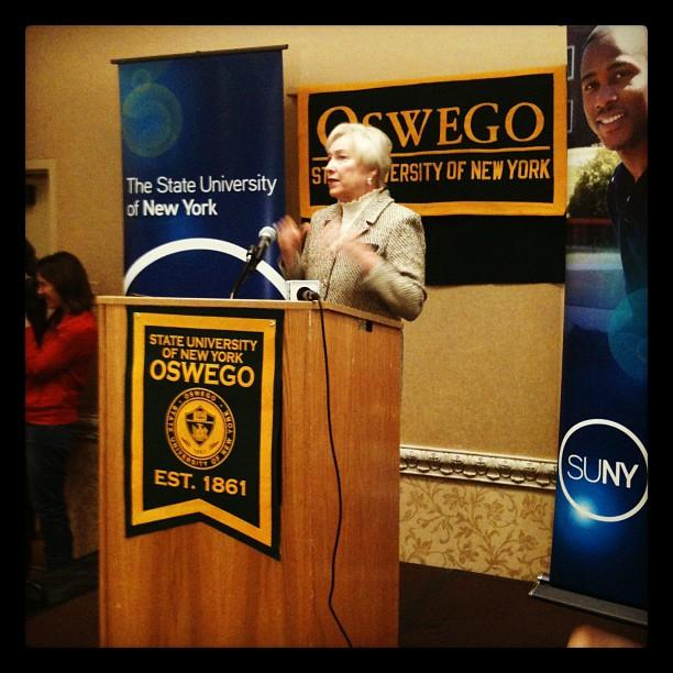 SUNY Chancellor Nancy Zimpher speaks at the Power of SUNY regional showcase in Syracuse Monday