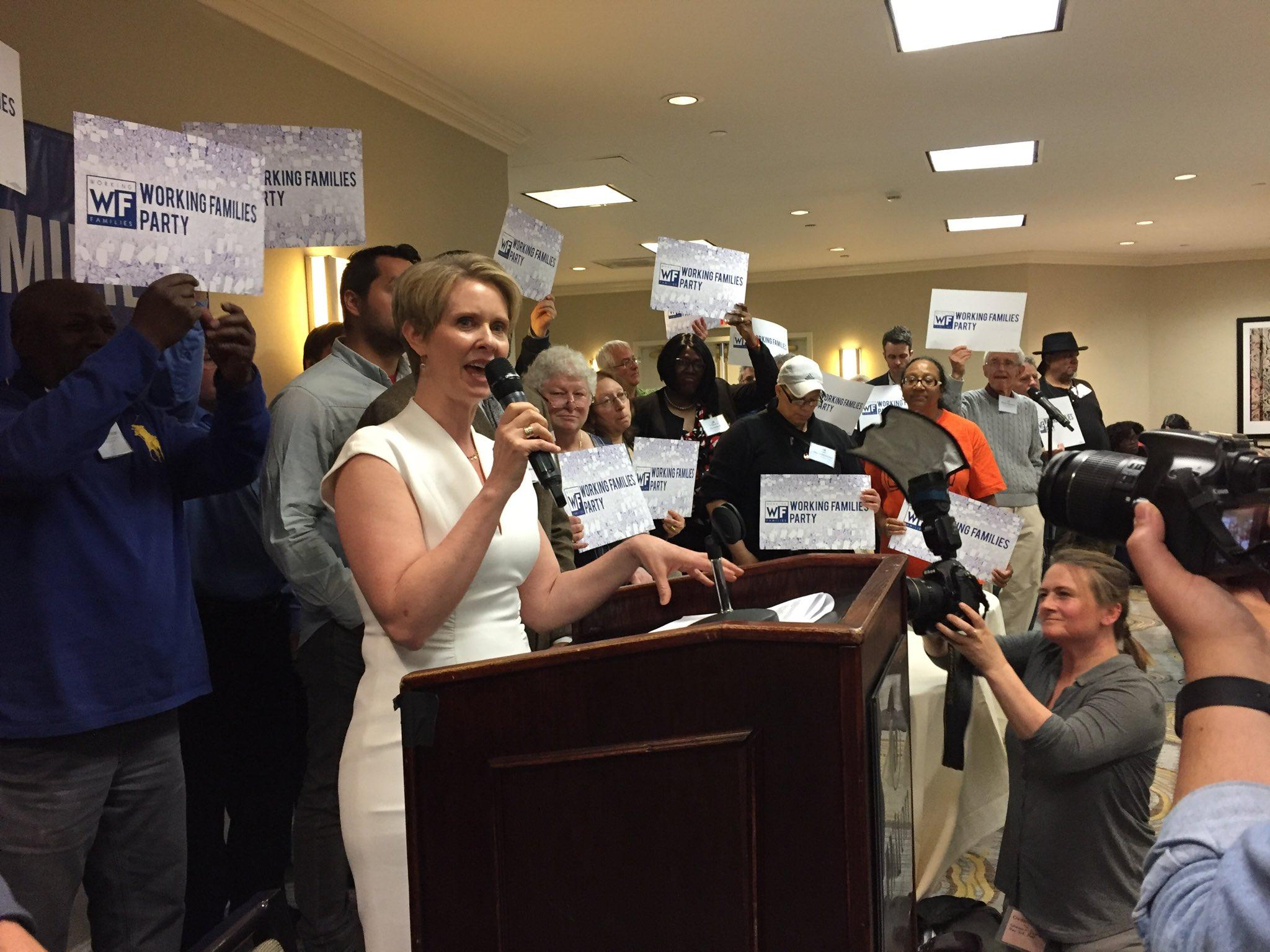 Cynthia Nixon accepts endorsement from NY's Working Families Party