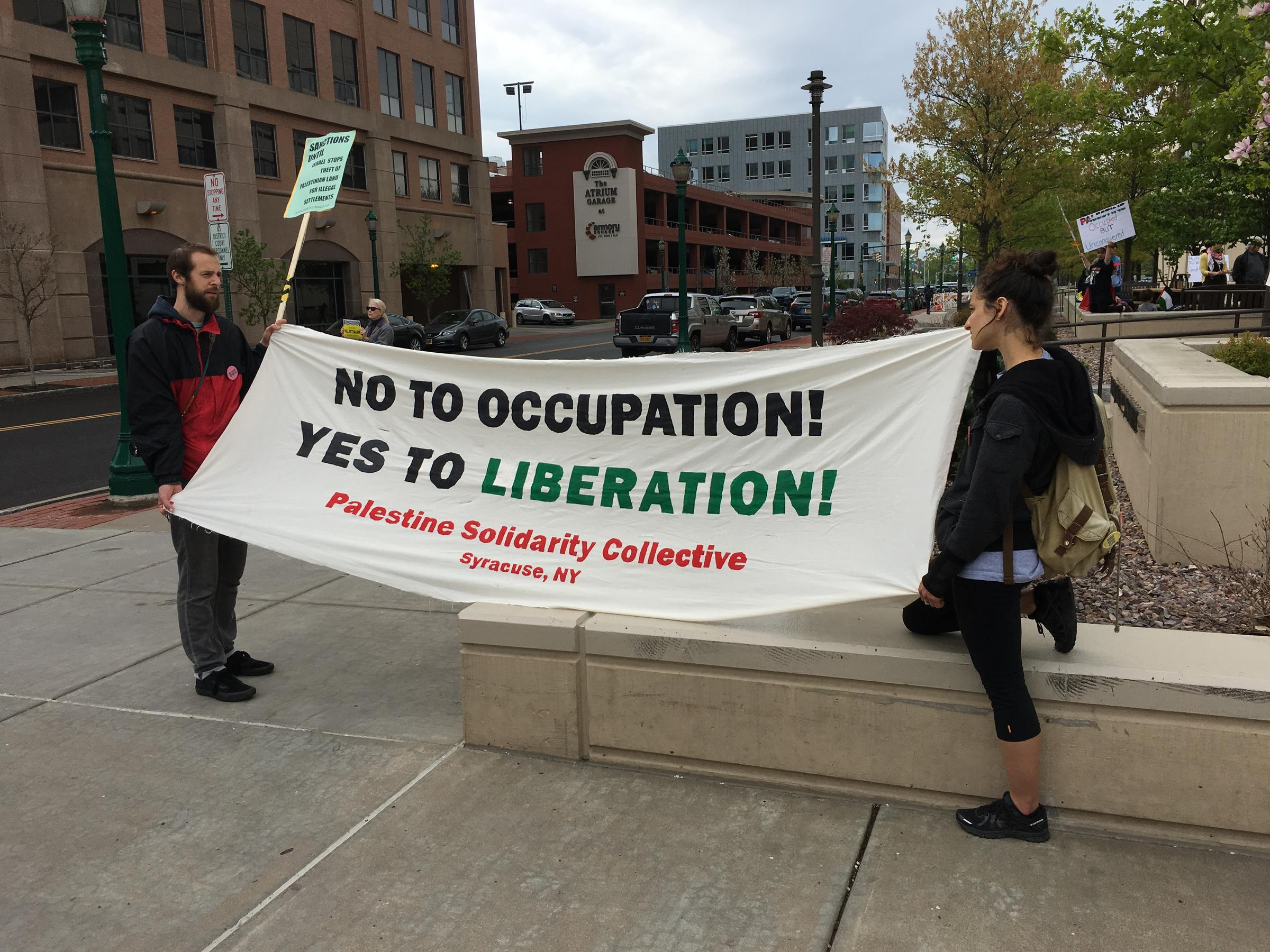 A rally for Palestine in downtown Syracuse