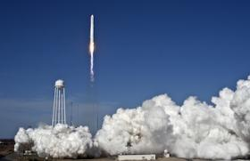 The Antares rocket soared into the sky on the power of two AJ26 main engines.