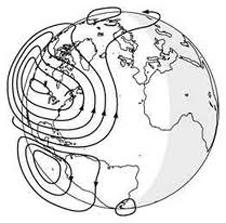 An electric current called the dynamo, illustrated here, sweeps through Earth's upper atmosphere.