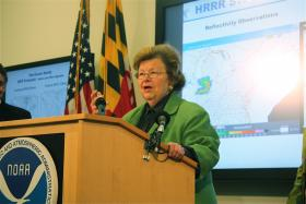 Senator Barbara Mikulski (D-Md) announcing new investment in weather monitoring equipment.