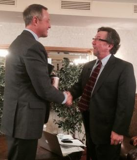 Governor Martin O'Malley and Marc Steiner at annual Annapolis Summit