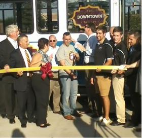 City Council President Jake Day, Mayor Jim Ireton and Wicomico County Executive Rick Pollitt at ribbon cutting ceremony for Downtown Trolley