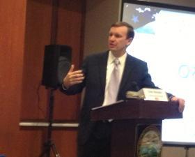 Senator Chris Murphy in Bridgeport, Conn. on Monday