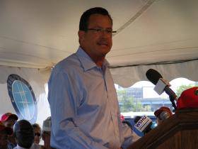 Governor Dannel Malloy addressing an audience at the site of the proposed Bass Pro Shops store in Bridgeport in July 2012.