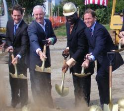 U.S. Rep. Jim Himes, Mayor Bill Finch, Rev. C.L. Stallworth of the East End Baptist Tabernacle Church and US Senator Richard Blumenthal at the ground breaking